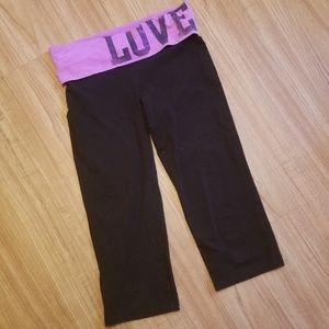 LOVE PINK Foldover Waist Cropped Yoga Pants Capri